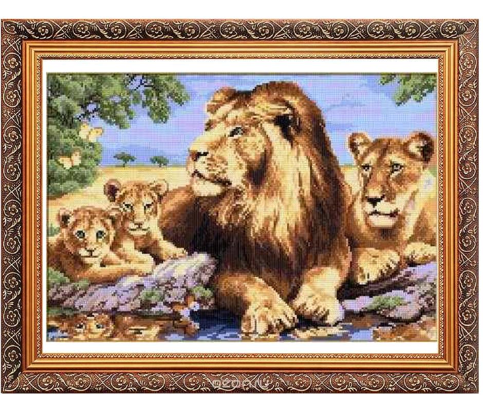 """Схема для вишивання картини """"Родина левів"""""""