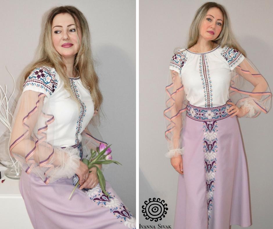 Іванна Сивак у вишитій сукні власного дизайну